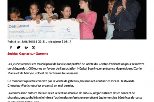 15 06 2018 Le Conseil Municipal Des Enfants Se Mobilise Pour Hôpital Sourire