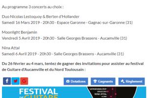 Places à Gagnaer Pour Le Ferstival De Guitare D'Aucamville