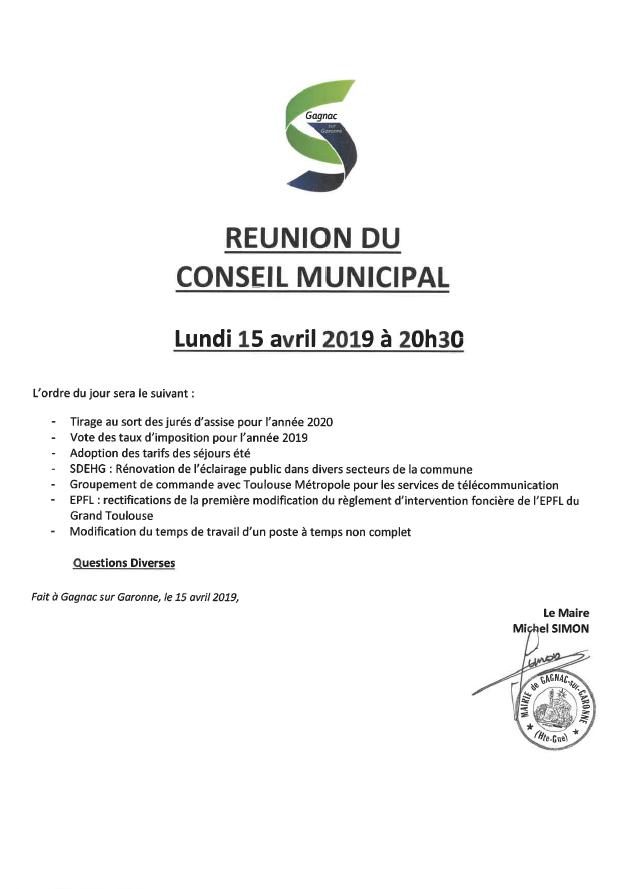 Conseil municipal du 15/04 : ordre du jour