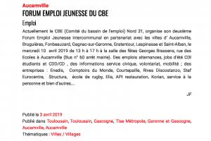 03 04 2019 Forum Emploi Jeunesse