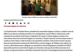 20 07 2019 La Recette Du Festichoeurs Reversée Au Secours Catholique 1