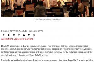 02 09 2019 La Chorale Recherche De Nouvelles Voix